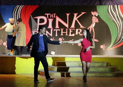 Ballerini animatori durante lo spettacolo teatrale al pantera rosa