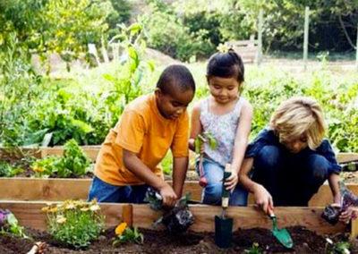 Bambini piccoli che praticano giardinaggio